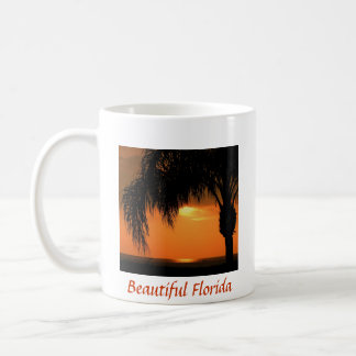 Beautiful Florida, sunset with palm tree, ocean Coffee Mug