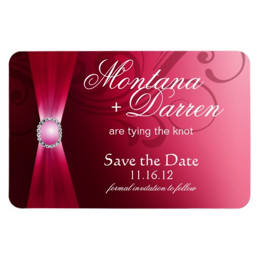 Beautiful Flourish Save the Date Magnet | hot pink