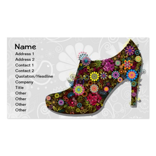 Beautiful Flower & Bird Shoe Retro Business Card Templates