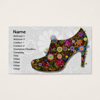 Beautiful Flower & Bird Shoe Retro Business Card