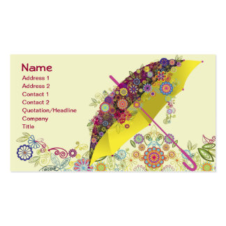 Beautiful Flower & Bird Umbrella/Parasol Double-Sided Standard Business Cards (Pack Of 100)