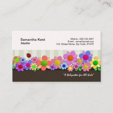 Beautiful Flower Box Garden Babysitter Business Card