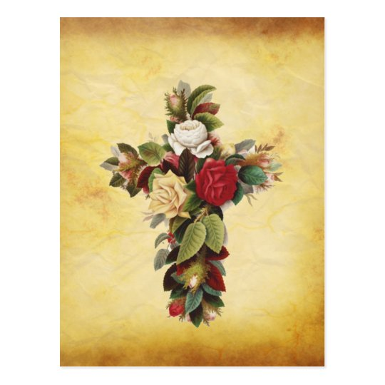 beautiful flower cross postcard