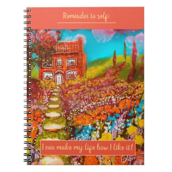 Beautiful Flower Garden Cottage w/Birthday Wish  Notebook