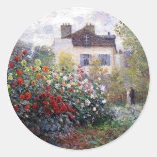 Beautiful Flower Garden with Monet Classic Round Sticker