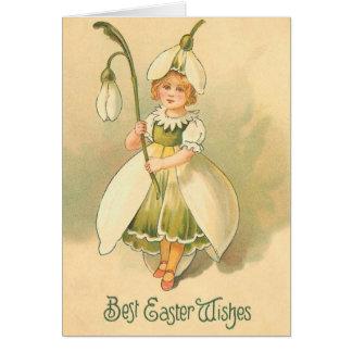 Beautiful Flower Girl Vintage Easter Card