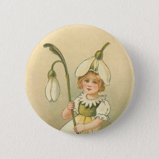 Beautiful Flower Girl Vintage Easter Pinback Button
