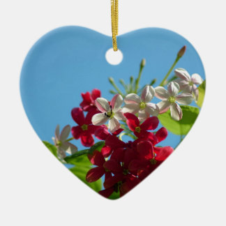 Beautiful flower in the world 02 Double-Sided heart ceramic christmas ornament