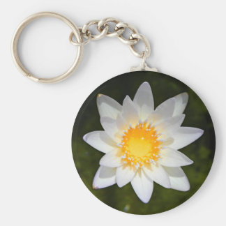 Beautiful flower white water lily keychain