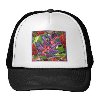 Beautiful flower with blue and pink hues trucker hat
