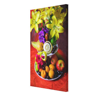 Beautiful flowers and fresh fruits canvas print