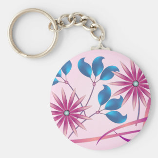 Beautiful Flowers Basic Round Button Keychain