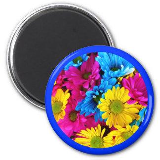 Beautiful Flowers Floral Blue Border Magnet