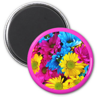 Beautiful Flowers Floral Circle Design Pink Border 2 Inch Round Magnet