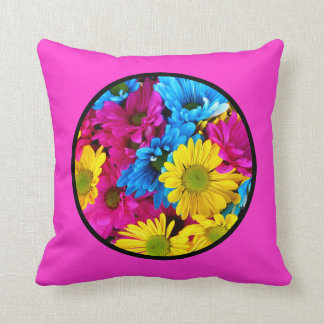 Beautiful Flowers Floral Circle Pink Throw Pillow