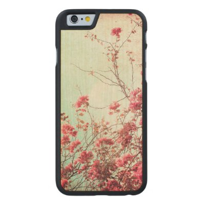 Beautiful flowers in retro style carved® maple iPhone 6 slim case