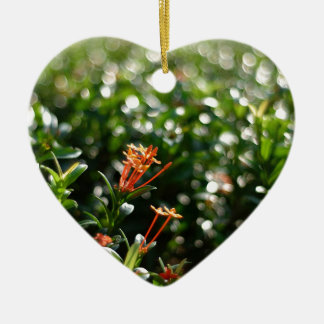 Beautiful Flowers In The World 03 Double-Sided Heart Ceramic Christmas Ornament