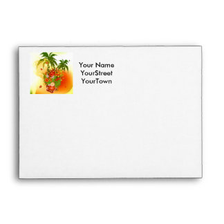 Beautiful flowers in tropical design envelopes