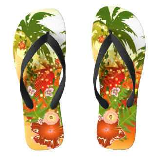 Beautiful flowers in tropical design flip flops