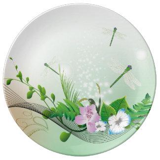 Beautiful flowers porcelain plates