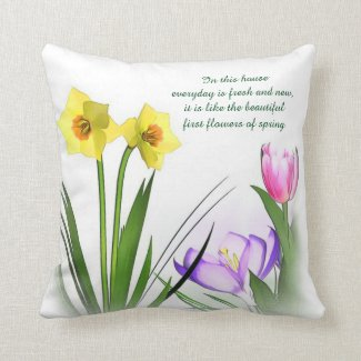 Beautiful flowers of spring pillow