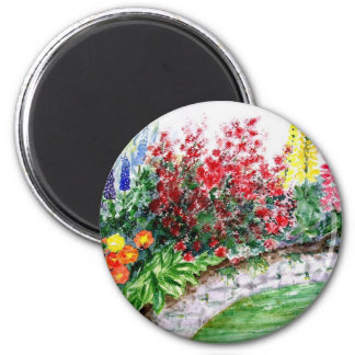 Beautiful Flowers on a Stone Wall Magnet