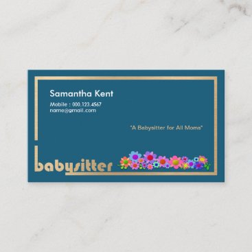Beautiful Flowers On Gold Borders Babysitter Calling Card