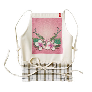 Beautiful flowers on soft pink background zazzle HEART apron