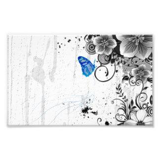 Beautiful  Flowers Swirl abstract vectror art Photo Print