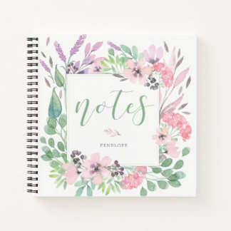 Beautiful Flowers   Watercolor Floral and Leaves Notebook