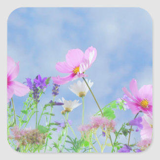 Beautiful flowers. With blue sky Square Sticker