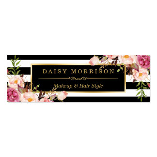 Beautiful Flowers Wrapping Gold B&W Stripes Double-Sided Mini Business Cards (Pack Of 20)