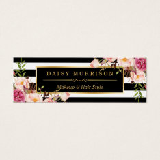 Beautiful Flowers Wrapping Gold B&w Stripes Mini Business Card at Zazzle