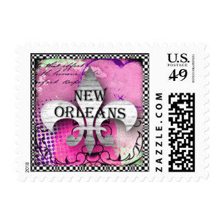 Beautiful Fluer-de-lis Postage Stamp Pink