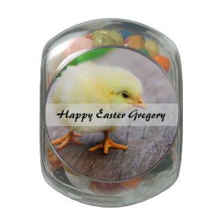 Beautiful fluffy Yellow Chicken Glass Candy Jar