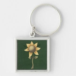 Beautiful Folk Art Sunflower Key Chain