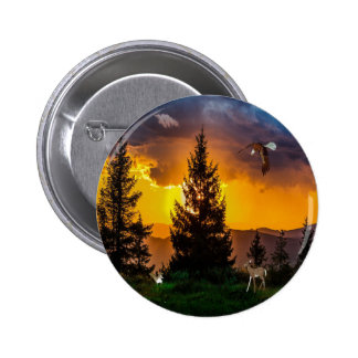 Beautiful Forest Landscape with Eagle Flying, Deer Button