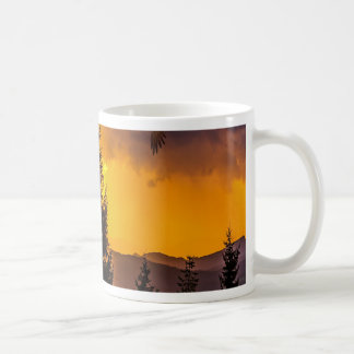 Beautiful Forest Landscape with Eagle Flying, Deer Coffee Mug