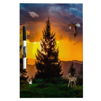 Beautiful Forest Landscape with Eagle Flying, Deer Dry-Erase Board