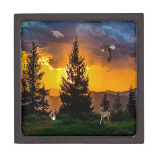 Beautiful Forest Landscape with Eagle Flying, Deer Gift Box