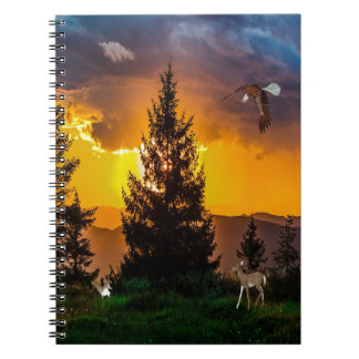 Beautiful Forest Landscape with Eagle Flying, Deer Notebook