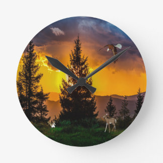 Beautiful Forest Landscape with Eagle Flying, Deer Round Clock