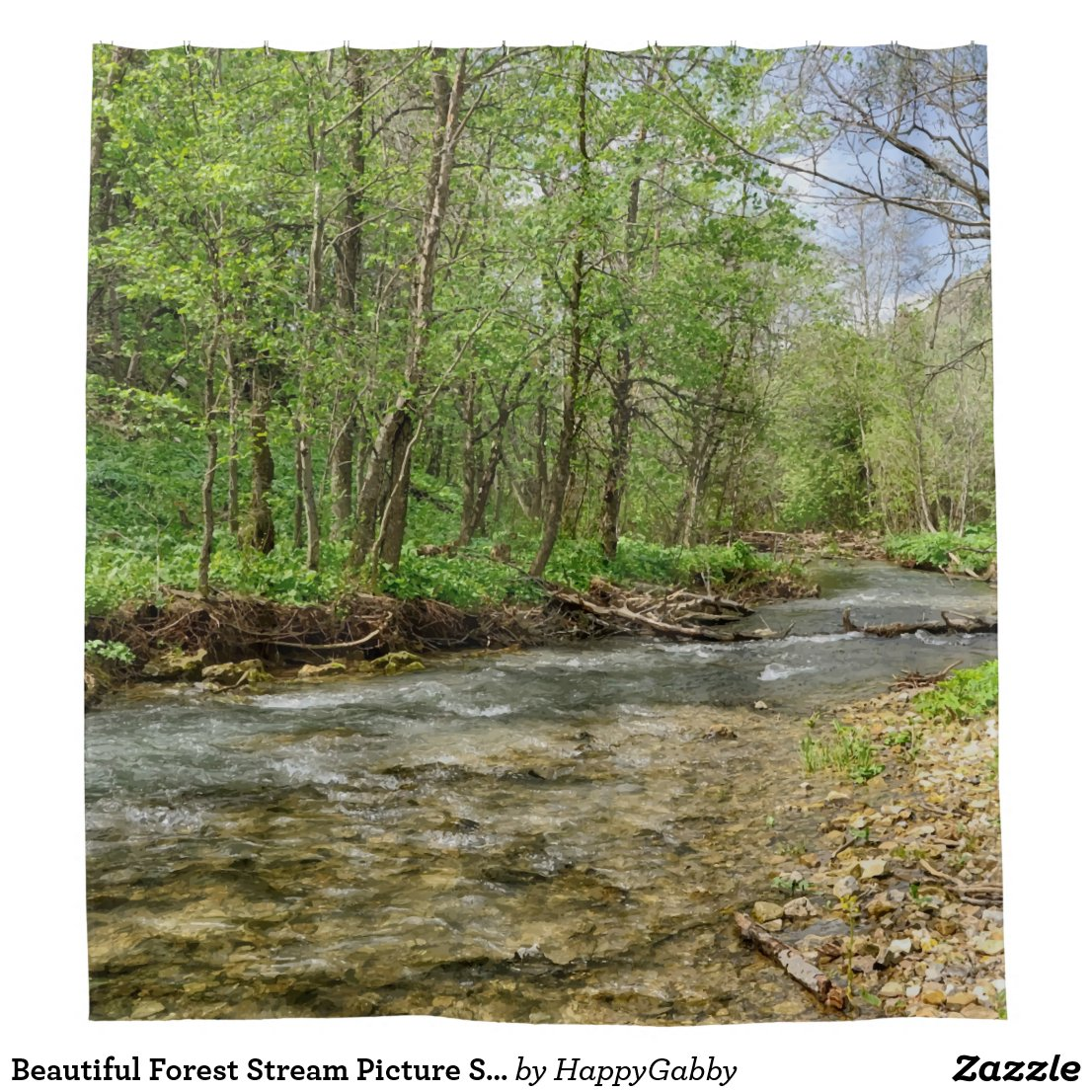 forest stream picture shower curtain