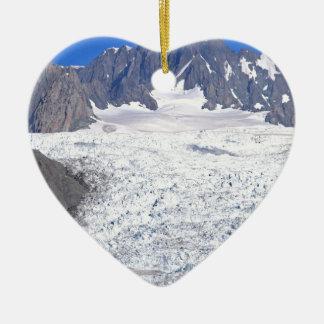 Beautiful Fox Glacier New Zealand Double-Sided Heart Ceramic Christmas Ornament
