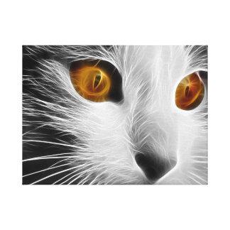 Beautiful Fractal Cat Orange Eyes Canvas Print
