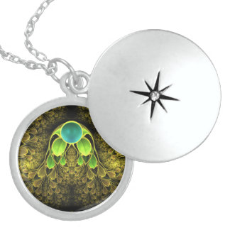 Beautiful Fractal Feathers of the Quetzal Bird Locket Necklace
