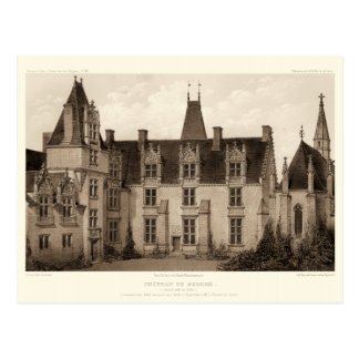 Beautiful French Chateau in Sepia Tones Postcard