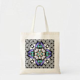 Beautiful Fresh Damask Design Aqua and Purple Tote Bag