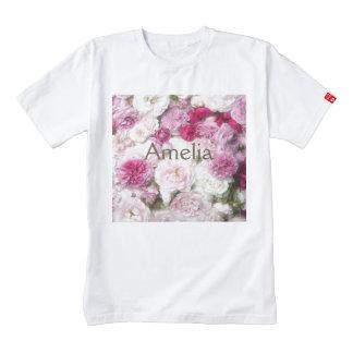 Beautiful,fresh,pink,white,roses,pattern,vivid,fun Zazzle HEART T-Shirt