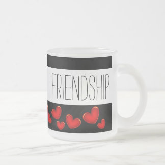 Beautiful Friend Friendship Lots Of Red Hearts Frosted Glass Coffee Mug